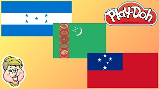 Play-Doh Flags! Honduras, Turkmenistan, and Samoa! EWMJ #332