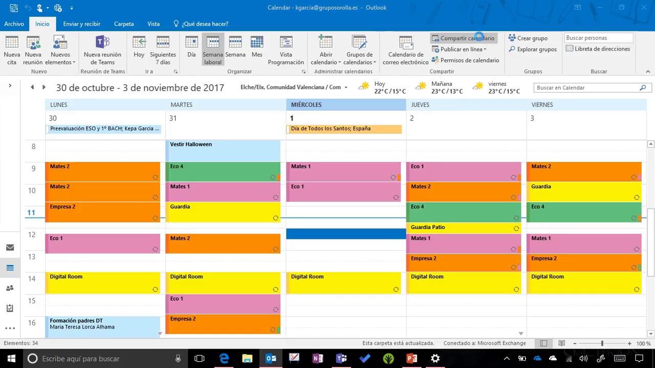Calendario Outlook.Compartir Calendario Outlook