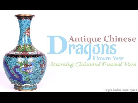 Antique Chinese Stunning Cloisonné Enamel Dragons Flower Vase.