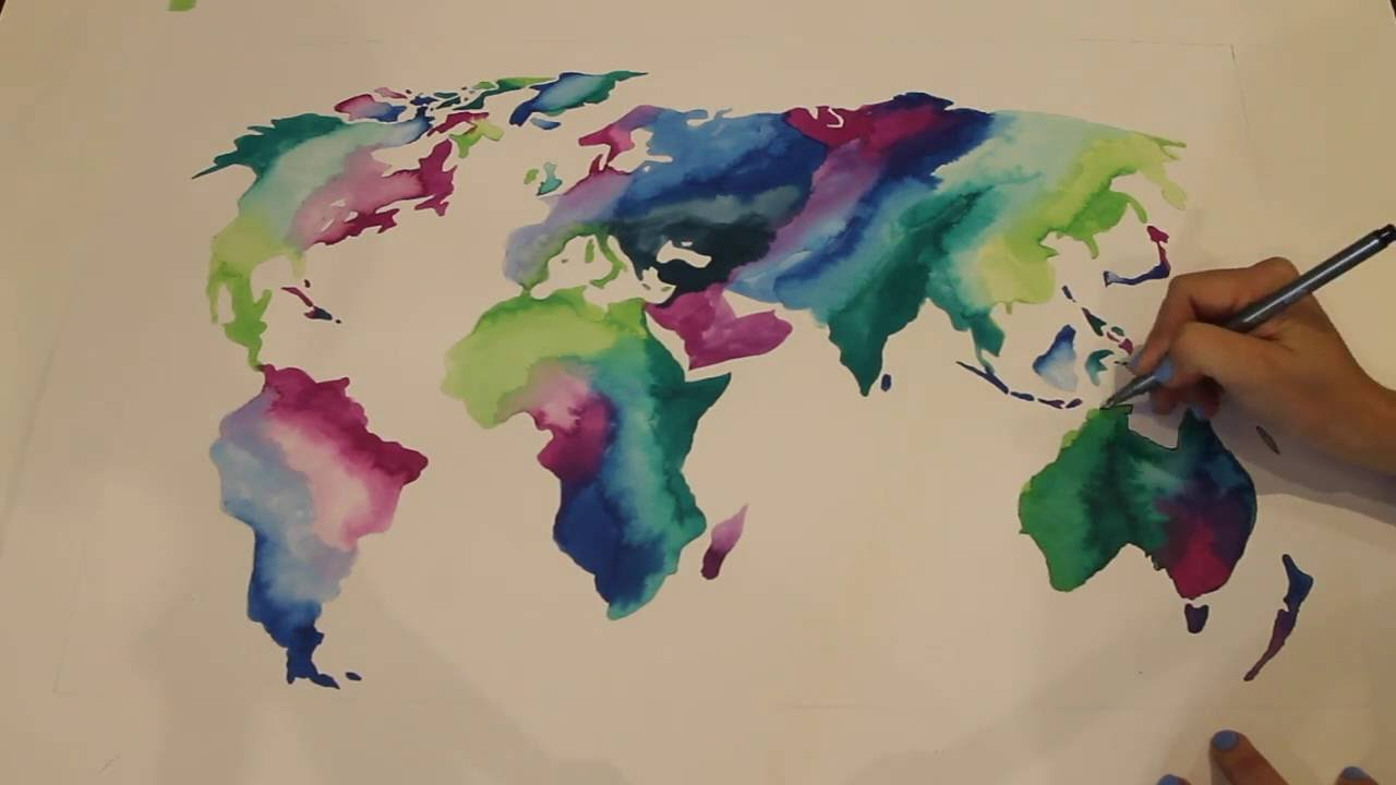 World map painting ink youtube world map painting ink gumiabroncs Gallery