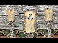 DIY Silver & Diamond Hurricane Lamps/Vases Using Dollar Tree Items #dollartreediy #blingismything