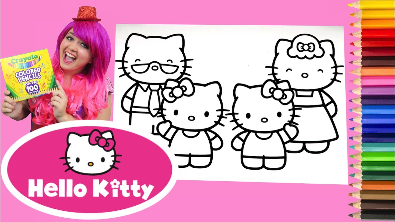 Coloring hello kitty mimmy family coloring book page colored pencil kimmi the clown