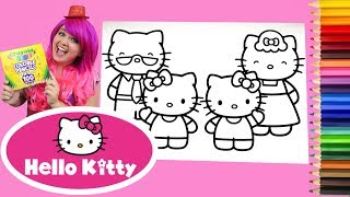 Coloring Hello Kitty, Mimmy & Family Coloring Book Page Colored Pencil | KiMMi THE CLOWN