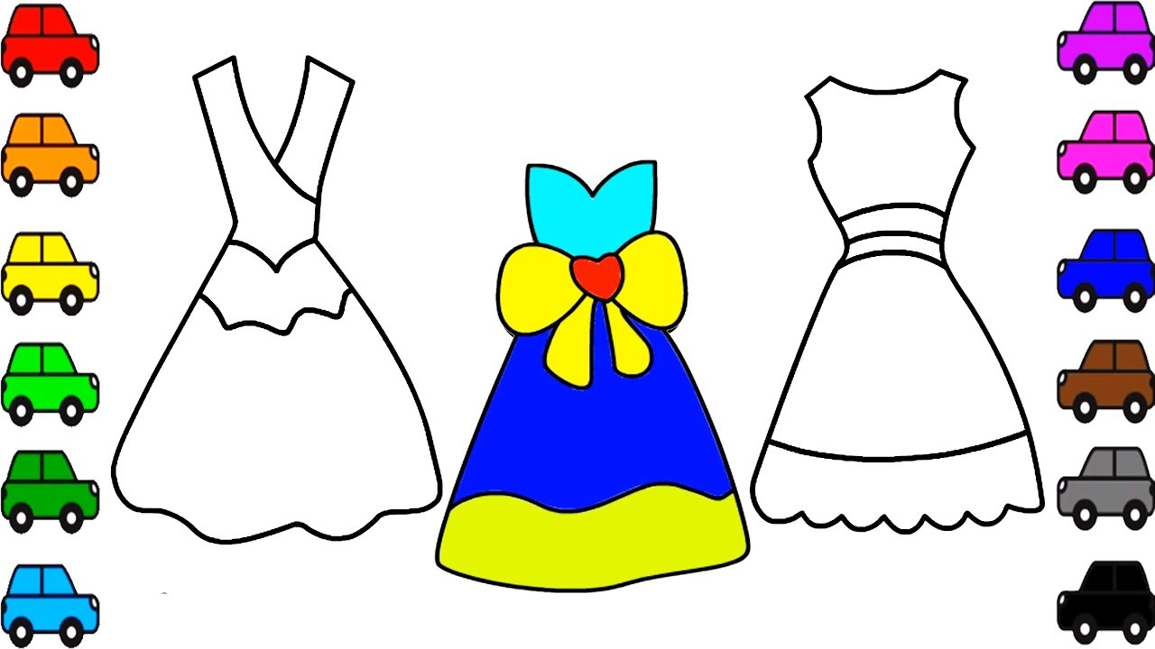 Coloring Pages Dresses For Girls | girls dress coloring videos for ...