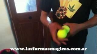 truco de magia manipulacion con pelotas de tenis goma espuma soft