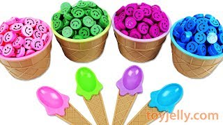 Learn Colors Ice Cream Candy Smiley Face Surprise Eggs Jelly Color Foam Baby Doll Bath Time