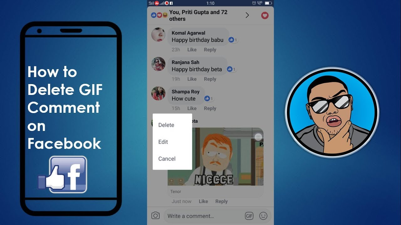 how to delete gif comment on facebook on mobile 2018 mobile app