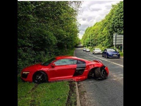 Audi R8 crash and aftermath in Preston