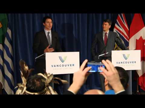 Canada PM Justin Trudeau at press conference with city Mayor Gregor Robertson, Vancouver.