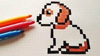 Handmade Pixel Art - How To Draw a Dog #pixelart