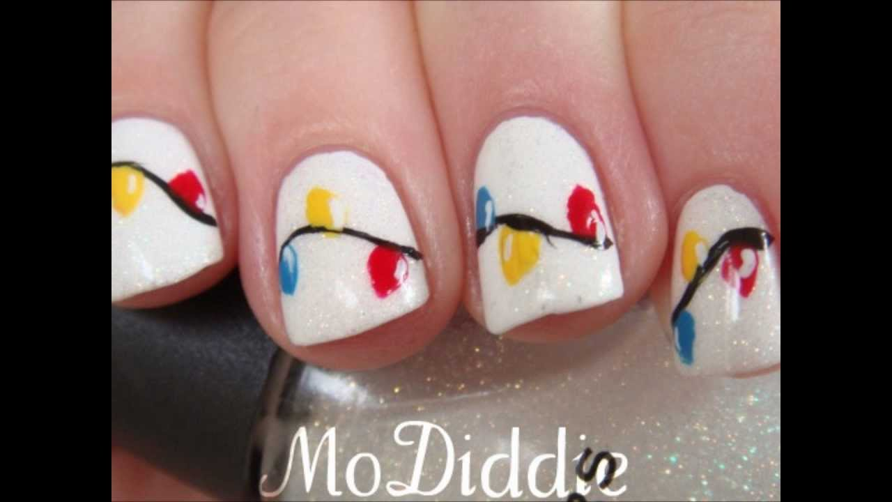 Christmas Lights Nail Art Tutorial In Hd Youtube