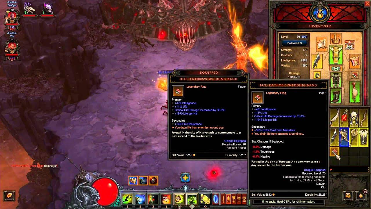 Bul Kathos Wedding Band.Diablo 3 Reaper Of Souls Legendary Ring Drop Bul Kathos S Wedding Band