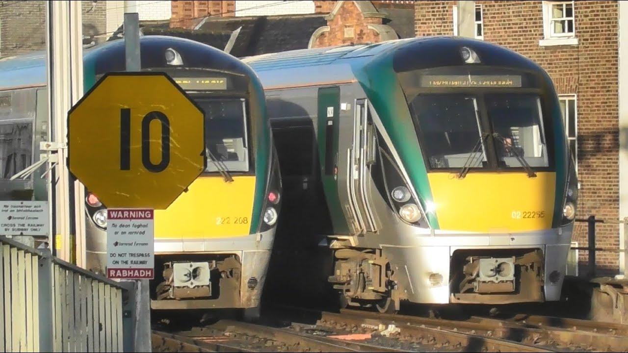 Two Irish Rail 22000 Class Intercity Trains at Connolly Station in Dublin, Ireland