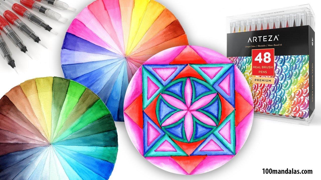 Product Review & Demo: Arteza Watercolor Brush Pens - YouTube