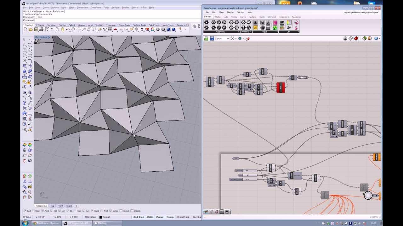 Generative origami test rhinoceros + grasshopper - YouTube