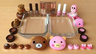 Brown vs Pink Mixing Makeup Eyeshadow into Clear Slime Special Series Satisfying Slime 41
