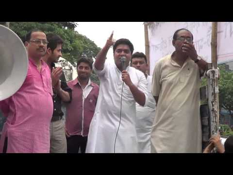 AITY National President Abhishek Banerjee speaks at a rally against Rail Fare hike
