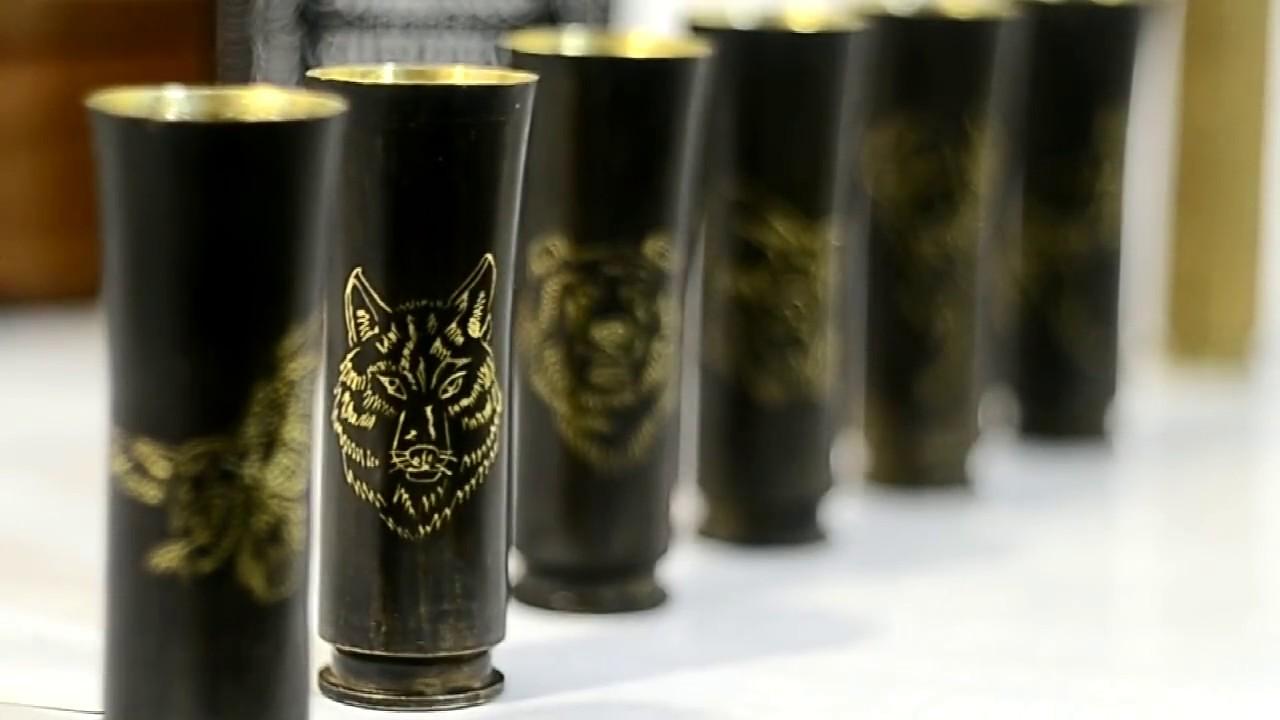 Подарок военному. Набор рюмок откованных из гильз. Glasses forged from shells