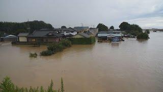 鬼怒川で水あふれる 茨城、住民取り残しも thumbnail