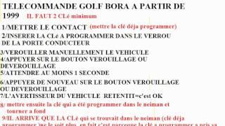 REINITIALISATION PROGRAMMATION CLE TELECOMMANDE GOLF AUDI SEAT