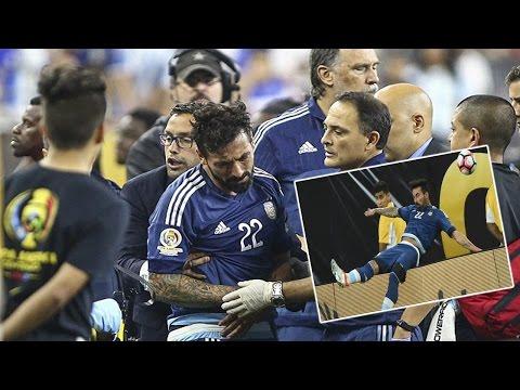 Argentina striker Ezequiel Lavezzi |Breaks elbow after terrible fall over advertising hoarding.