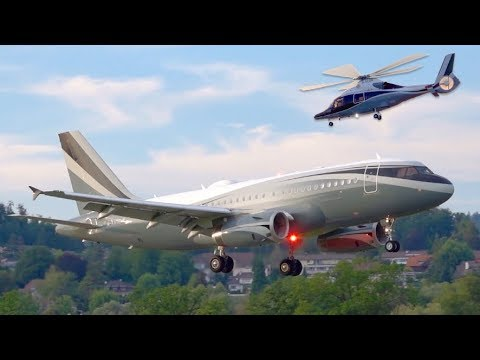 Eye-Catching Private Aircraft! Airbus A319 Landing &  Eurocopter EC155 Take-Off