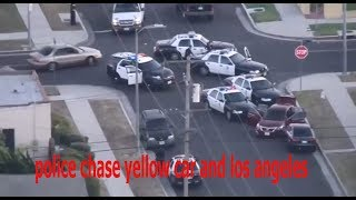 police chase yellow car and los angeles
