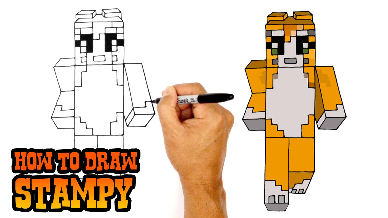 How to draw stampy minecraft youtube altavistaventures Image collections