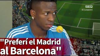 """Vinicius: """"El Barça pagaba más pero preferí el Real Madrid"""""""