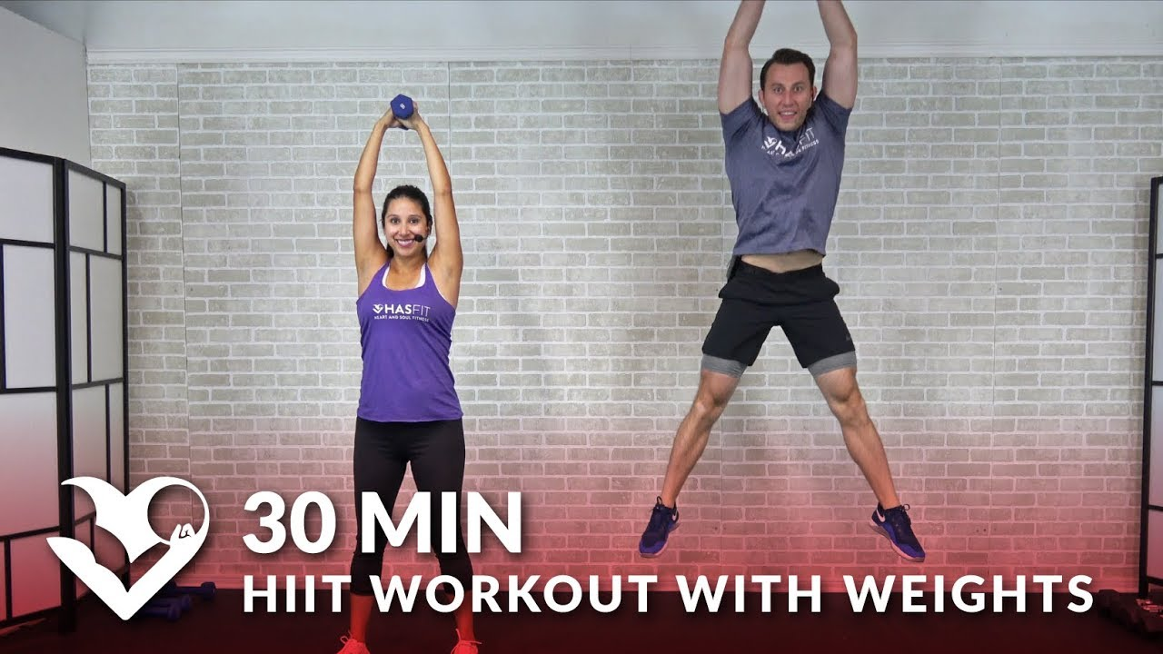 30 Minute Hiit Workout With Weights Total Body 30 Min Hiit At Home With Dumbbells For Men Women