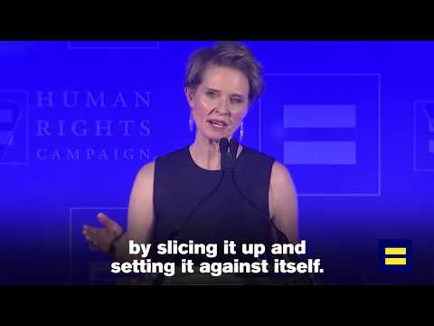 """Cynthia Nixon on Trump: """"Donald Trump is trying to divide our community"""""""