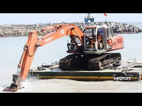 Excavator Working In Harbour