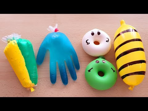Making Slime With Ballons Piping Bags And Glove