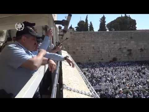 Security measures taking place in Jerusalem's old city at the western wall for the Passover festival