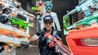 GUGU Nerf War : Police CID Dragon Nerf Guns Intrusion Fight SKMAN The Expendables