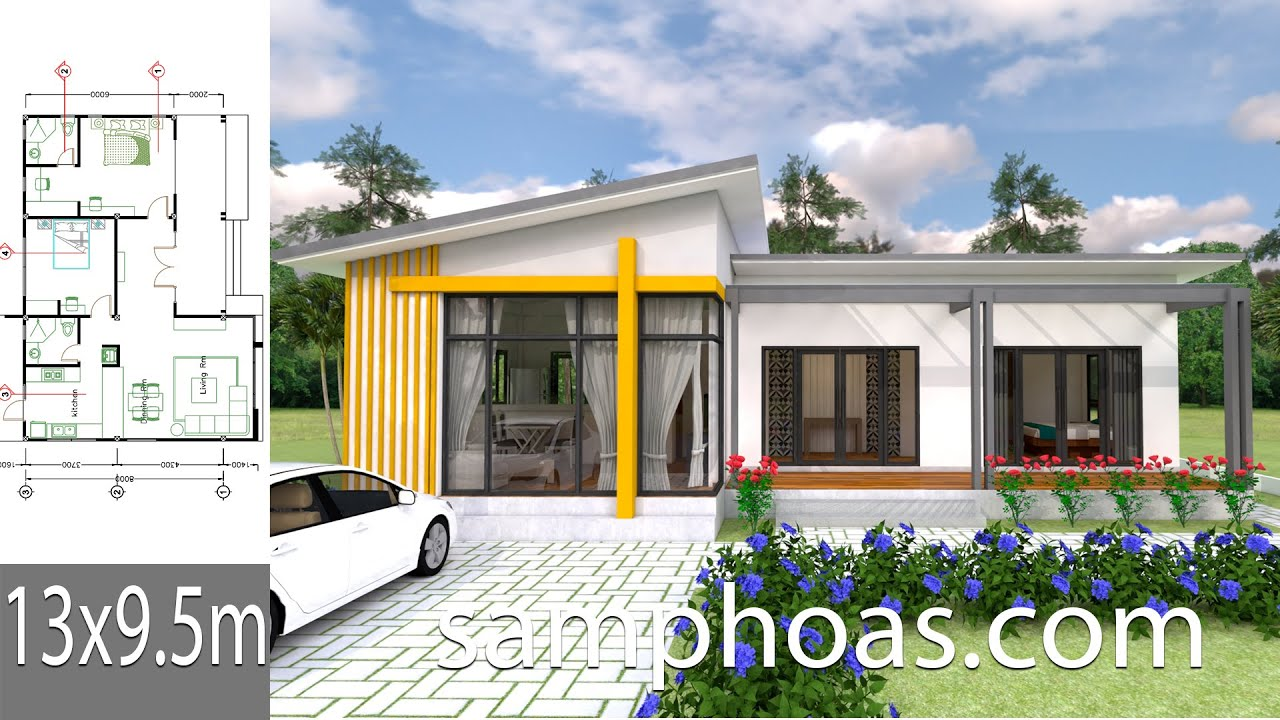 Plan 3d House Design 13x9 5m With 2 Bedrooms Youtube