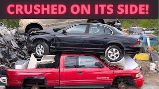 I Crushed A Car On Its SIDE!! (Jaguar S-Type) Plus I Smashed A Box Van Into A Dumpster!