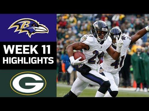 Ravens vs. Packers   NFL Week 11 Game Highlights
