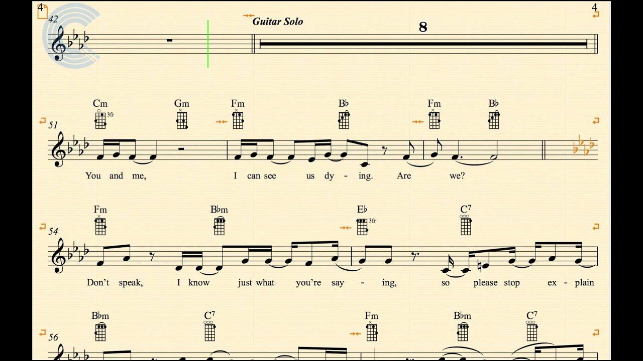 Ukulele Dont Speak No Doubt Sheet Music Chords And Vocals