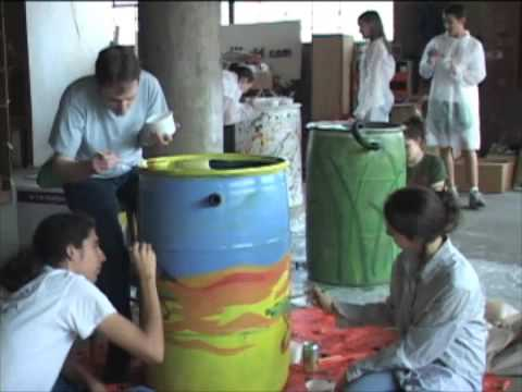 Durham rain barrel painting event music video