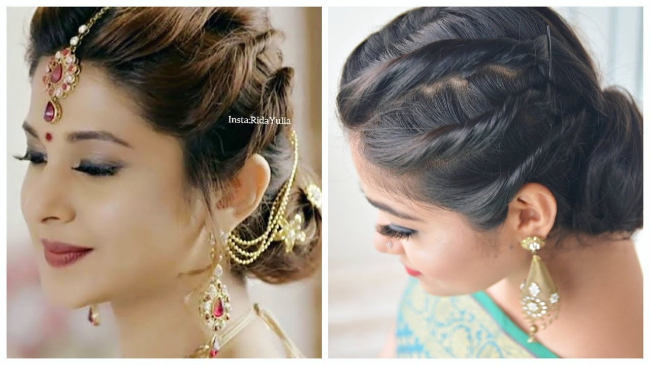 EASY HAIRSTYLE with Saree  Jennifer Winget Hairstyle  Wedding/ Party  Hairstyles for Girls