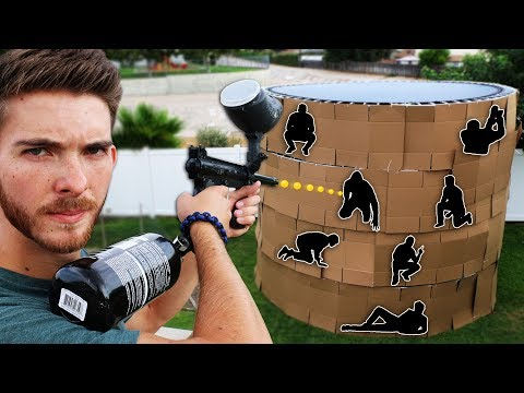 Shoot the Person Hiding in the 4 Story Trampoline Fort!! (EX