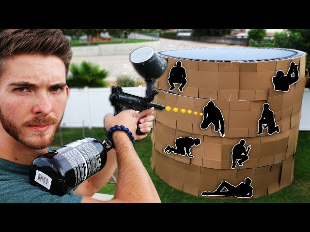 Shoot the Person Hiding in the 4 Story Trampoline Fort!! (EXTREME HIDE AND SEEK)