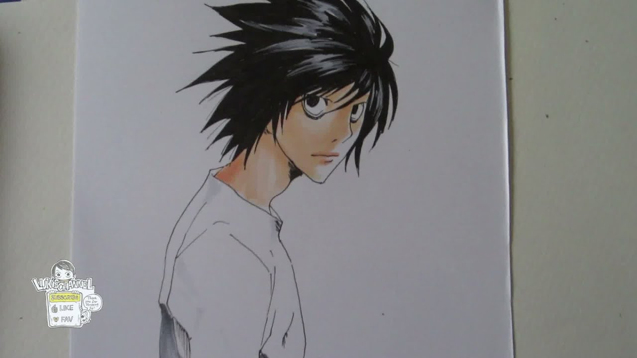 How To Draw L Ryuzaki From Death Note エル ローライト 竜崎 Youtube