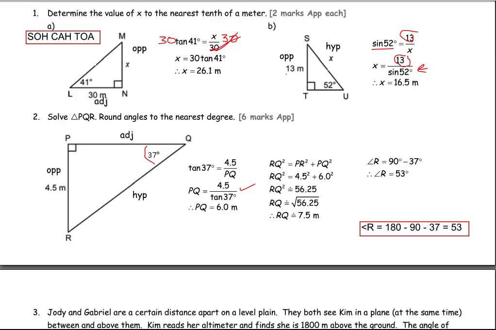 trigonometry worked solutions The six trigonometric ratios relate the sides of a right triangle to its angles specifically, they are ratios of two sides of a right triangle and a related angle trigonometric functions are typically used to calculate unknown lengths or angles in a right triangle the six functions are all related and can be defined in terms of one.