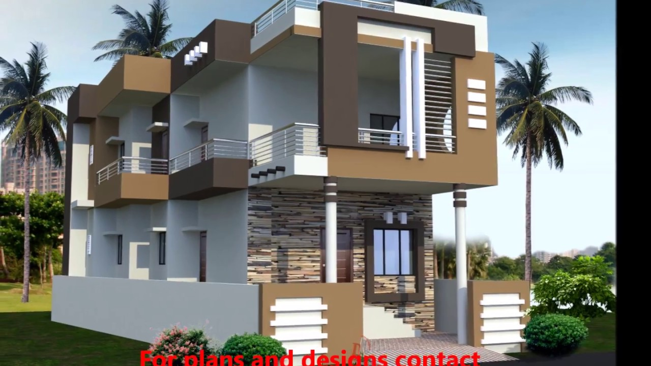 Front Elevation Of House With Staircase : Front elevations of indian house youtube