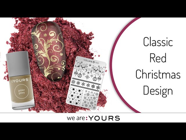 Classic Red Christmas Stamping Nail art Design