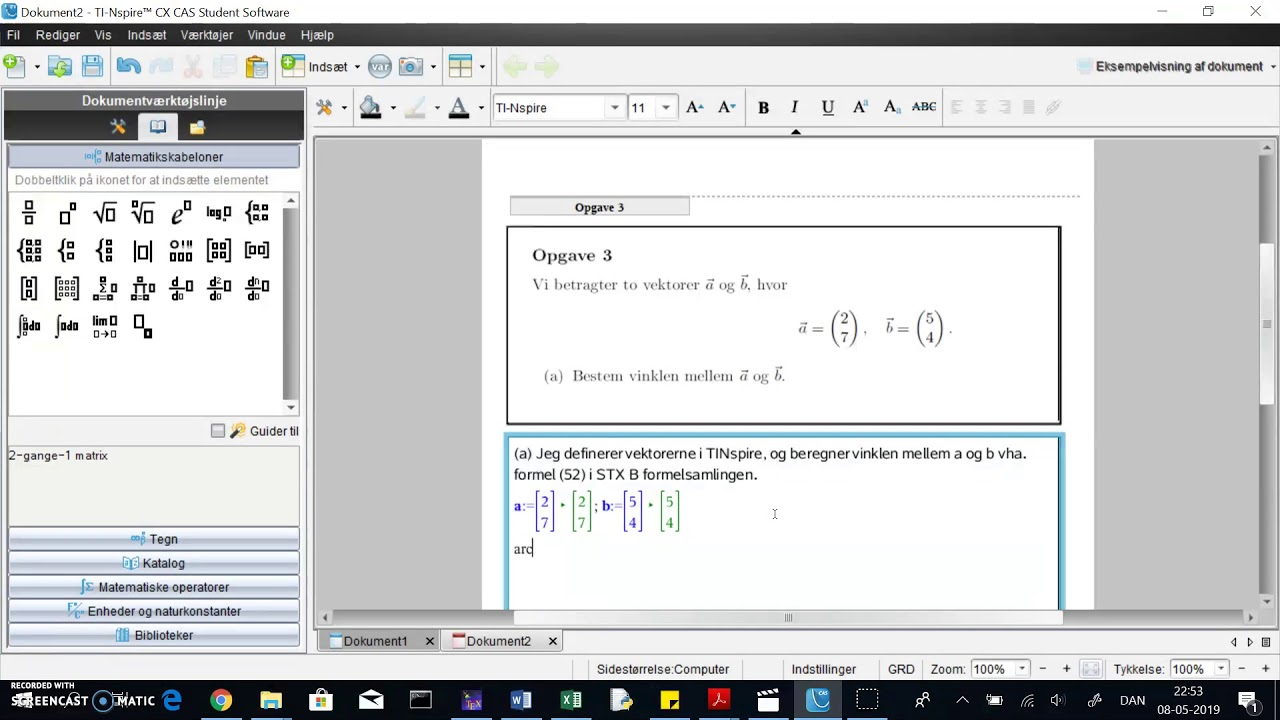 TINspire: vinkel mellem vektorer