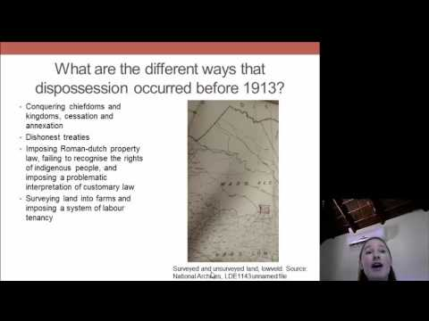 Dr Michelle Hay: The roots of land dispossession in South Africa pre 1913