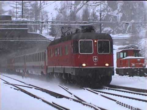 006 Bahnhof Goppenstein & Brig stations WINTER - CLASSIC BLS - no base tunnel - REOS full FILM